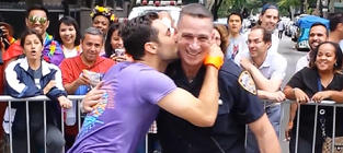 NYPD Officer Grinds with Gay Pride Parade Participant