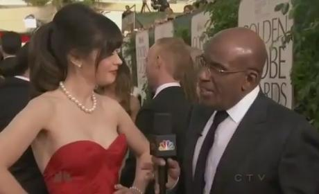 Zooey Deschanel Golden Globes Dress, Filmstrip Nails Rock Red Carpet