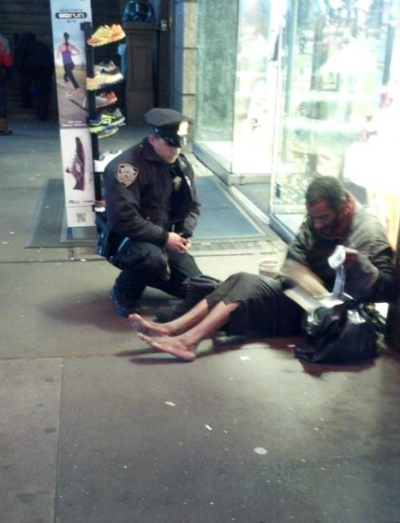 Cop Buys Homeless Man Shoes