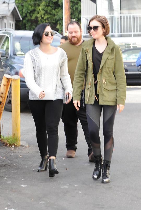 Lily Collins & Demi Lovato Lunch at La Conversation