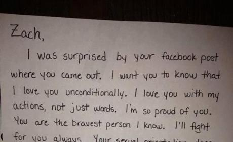 Zach Gibson Comes Out on Facebook, Shares Heartwarming Letter From Mom