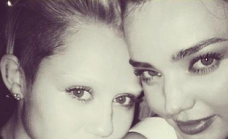 Miley Cyrus Bleaches Eyebrows, Poses with Miranda Kerr and Lily Allen