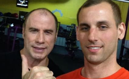 John Travolta Leaves Wig at Home, Gets Friendly With Male Fan During Late Night Workout