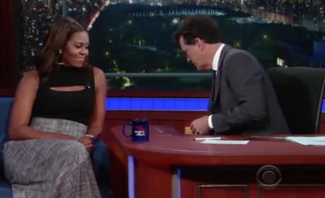 Michelle Obama with Stephen Colbert
