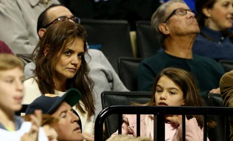 Katie Holmes Suri Cruise 2016 NCAA Tournament Pic