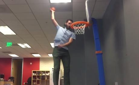 Fired Employee Spends Office Time Dunking Tiny Basketball