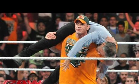 "John Cena Gives Jon Stewart ""Attitude Adjustment"" on Monday Night Raw"
