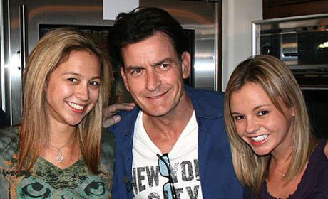 Rachel Oberlin, Natalie Kenly and Charlie Sheen