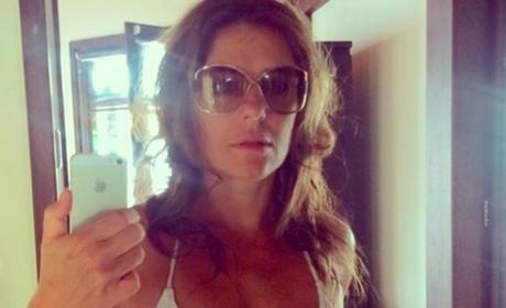 Elizabeth Hurley White Bikini Selfie