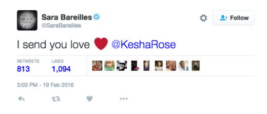 Sara Bareilles tweets support to Kesha