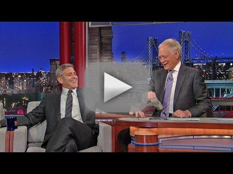 George clooney handcuffs himself to david letterman
