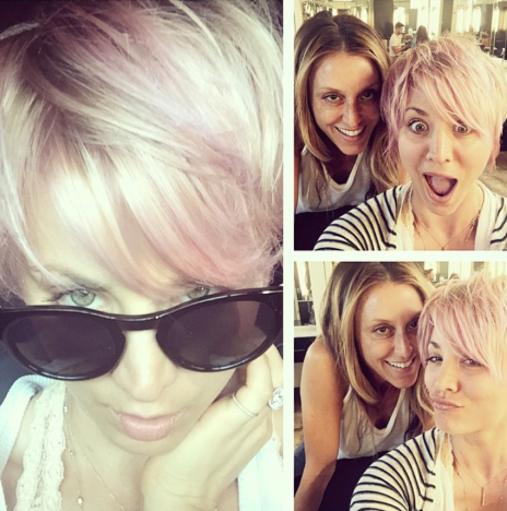 Kaley Cuoco Pink Hair