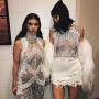 Kourtney Kardashian and Kylie Jenner at Yeezy Season 3 show