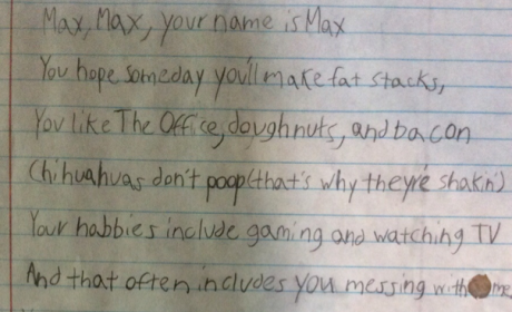 Kid Writes Touching Note to Brother, Hopes Max Will One Day Make Fat Stacks