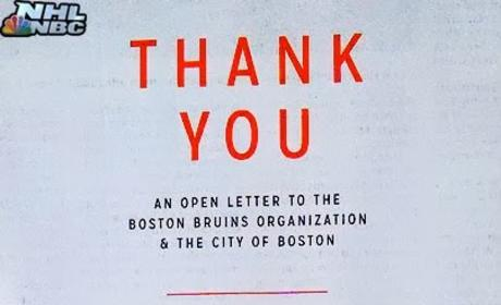Blackhawks Thank Bruins, City of Boston in Classy Open Letter