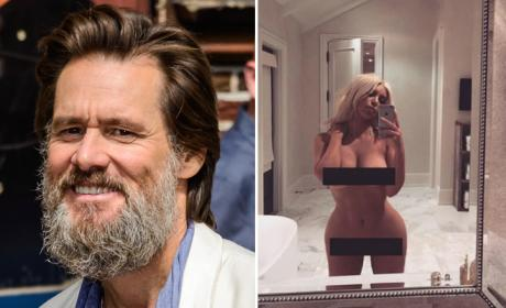 Jim Carrey and Kim Kardashian nude selfie