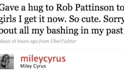"Miley Cyrus Now Finds Robert Pattinson ""So Cute"""