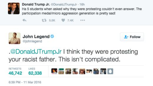 John Legend - Trump Jr. tweet