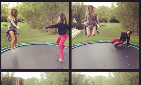 Kylie and Khloe on the Trampoline