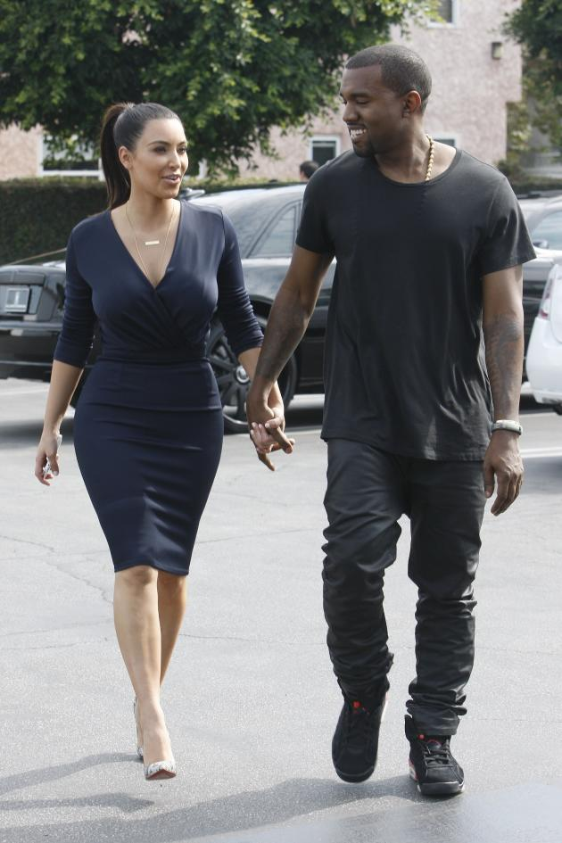 Kanye West and Kim Kardashian in Beverly Hills