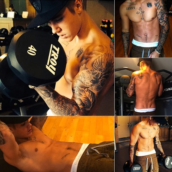 Justin Bieber Workout Pics