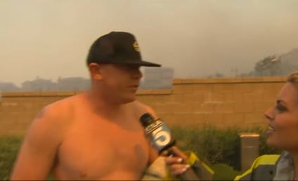 Shirtless Man Ignores Wildfire, Asks Reporter on a Date