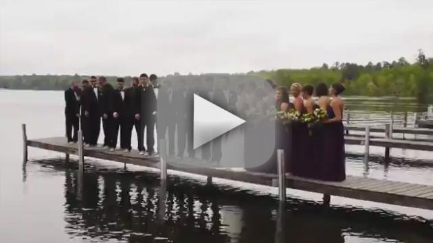 Wedding Party Falls In Lake