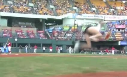 Backflipping First Pitch From South Korean Actress: Ridiculously Unhittable!