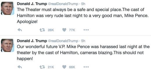 Trump tweets hamilton