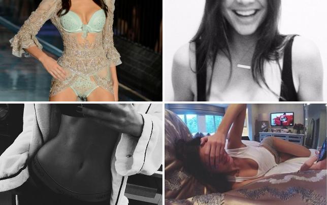 Kendall jenner in blue lingerie