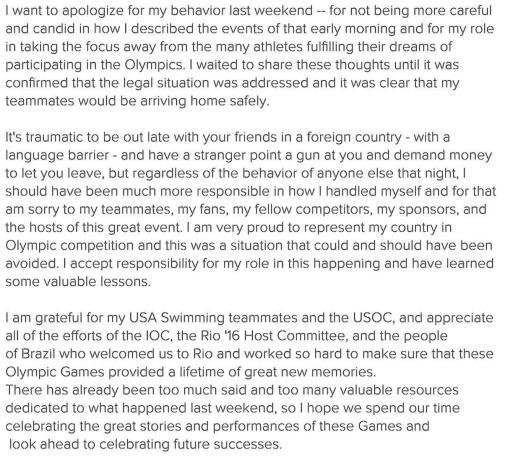 Olympics-Lochte apologises for behaviour in Rio