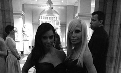 Kim Kardashian and Donatella Versace