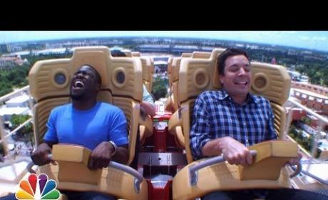 Kevin Hart and Jimmy Fallon Ride Roller Coaster on The Tonight Show: AHHHHH!!!!!!!!!!!!!!