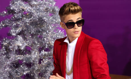 Justin Bieber in a Red Coat