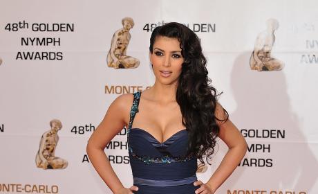 Kim Kardashian Navy Floor Length Dress Golden Nymph Awards