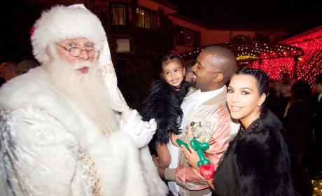 North West Meets Santa Claus, Makes Kanye Smile