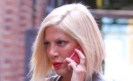 Tori Spelling on the Phone