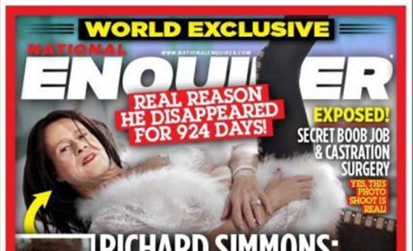 Richard Simmons as a woman on National Enquirer