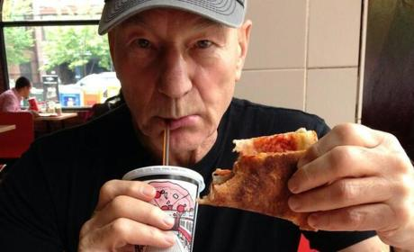 Patrick Stewart Admits to Hangover, Clarifies Pizza Picture