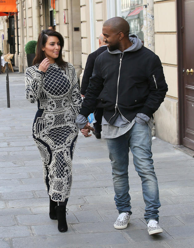 Kim Kardashian and Kanye West in Paris, France