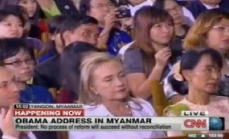 Clinton Falls Asleep During Obama Speech in Myanmar