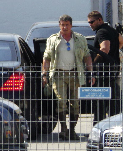 Sylvester Stallone Expendables 3 Set Photo
