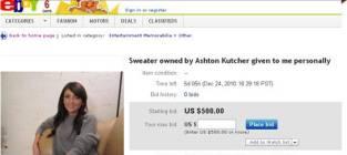 Alleged Ashton Kutcher Infidelity Sweater: For Sale!