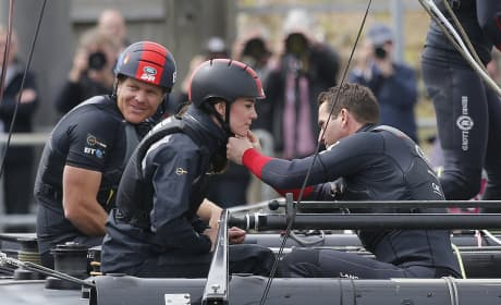 Sir Ben Ainslie Helps Kate Middleton With Her Racing Helmet