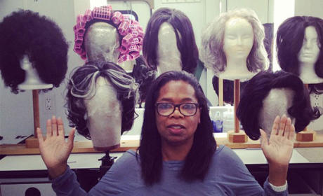 Oprah With No Makeup: Wigging Out on Set!