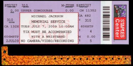 Michael Jackson Memorial Service Ticket