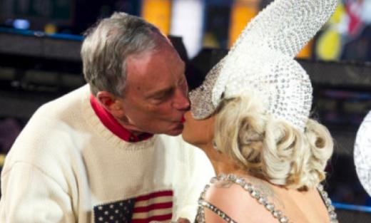 Lady Gaga, Michael Bloomberg Kiss