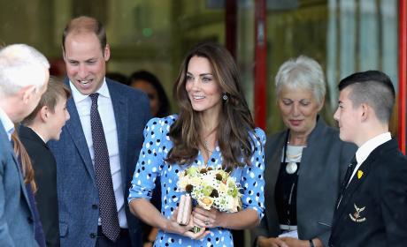 Prince William Kate Middleton Altazurra Blue Dress Stewards Academy