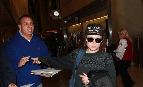 Ellen Page Leaves LAX