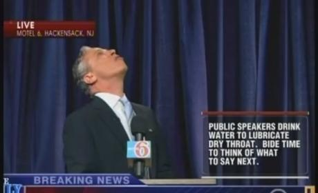 "Jon Stewart Cuts Hand, Bleeds, Keeps on Filming Anthony Weiner-Inspired ""Press Conference"""